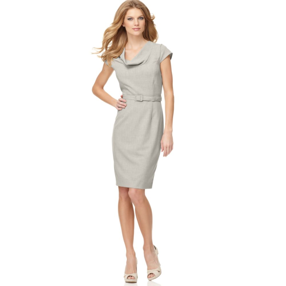 calvin klein cowl neckline belted work dress in gray lyst