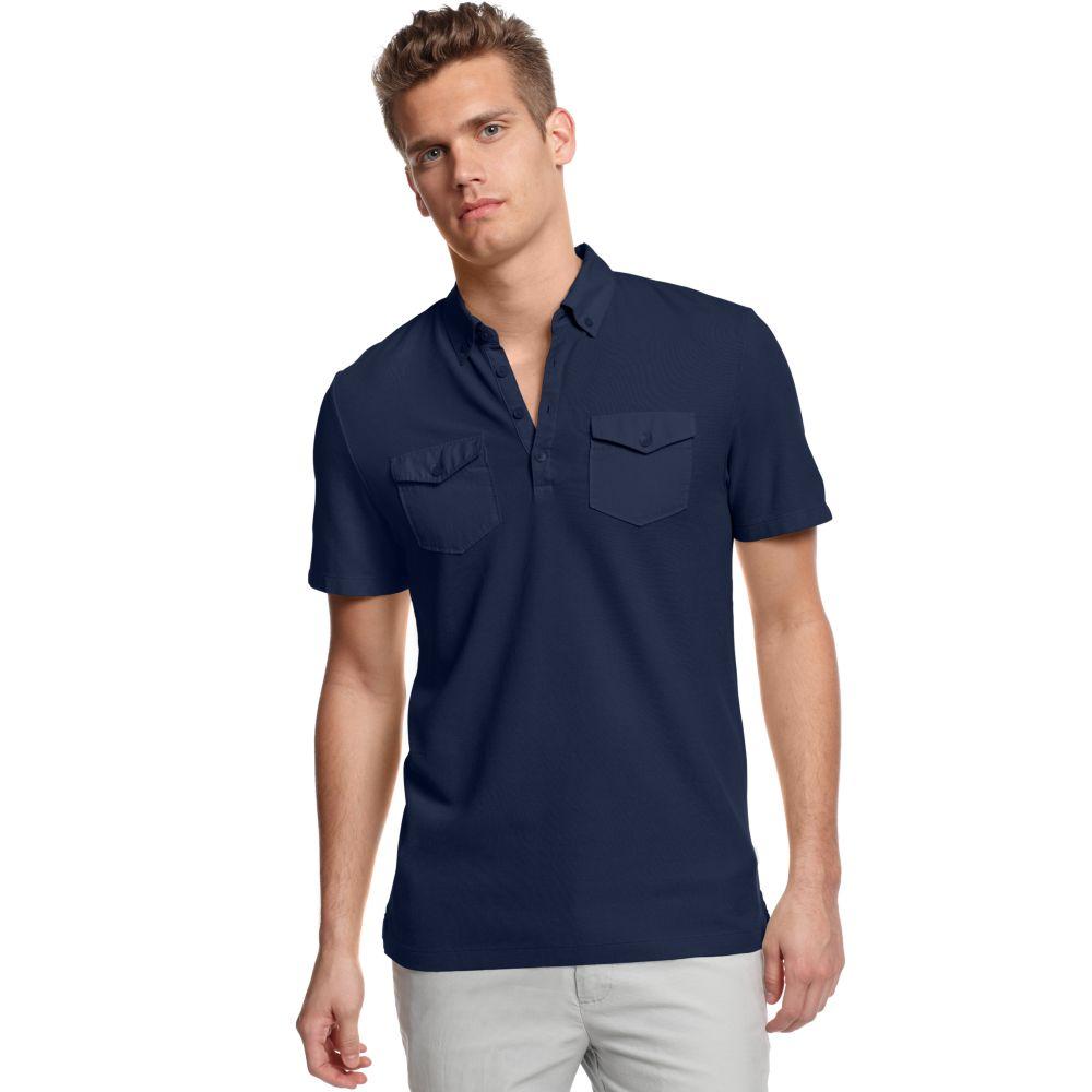 Calvin klein short sleeve pique pocket polo shirt in blue for Short sleeve polo shirt with pocket