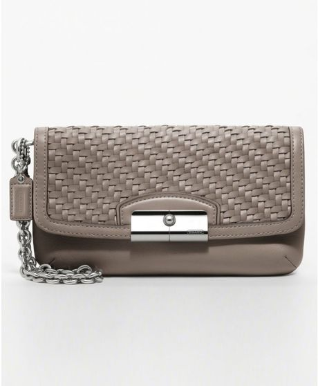 Coach Kristin Woven Leather Fashion Wristlet in Gray (silver/mushroom) - Lyst