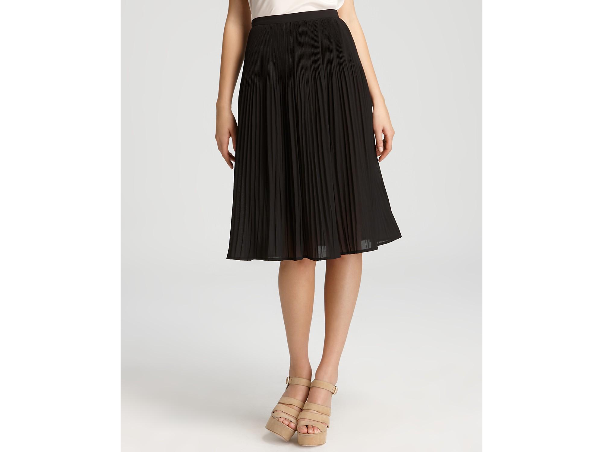 dkny c pleated midi skirt in black lyst