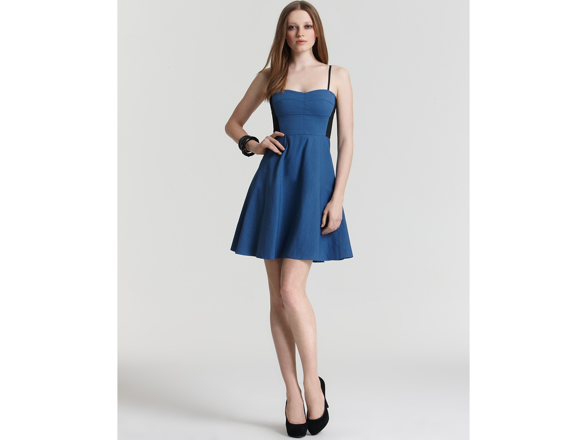 9bbefd9b043 NEW DKNY Denim Blue Spaghetti Strap Color Block Fit   Flare ...