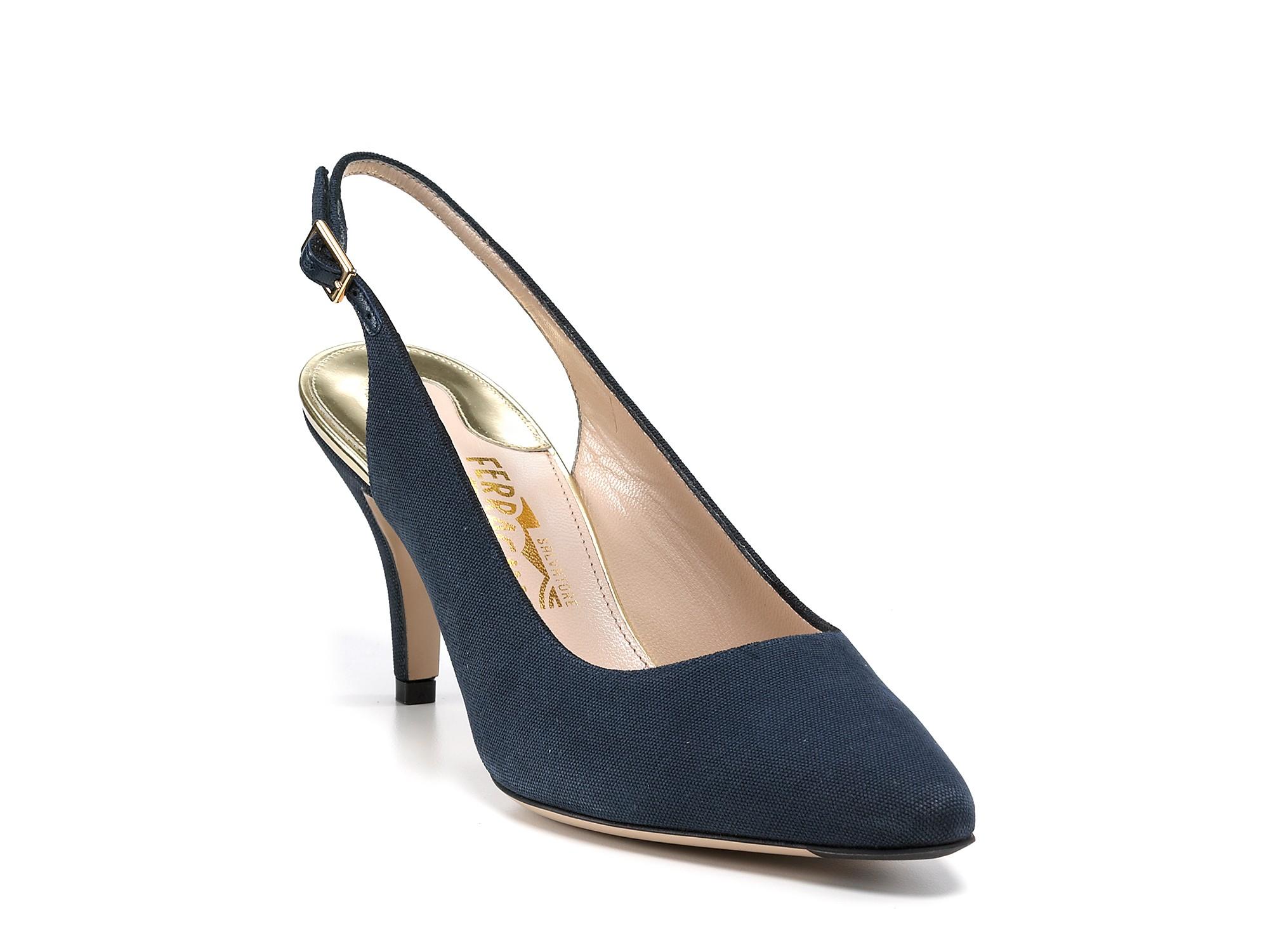 Lyst Ferragamo Heels Cosmina Slingback Kitten Heels In Blue
