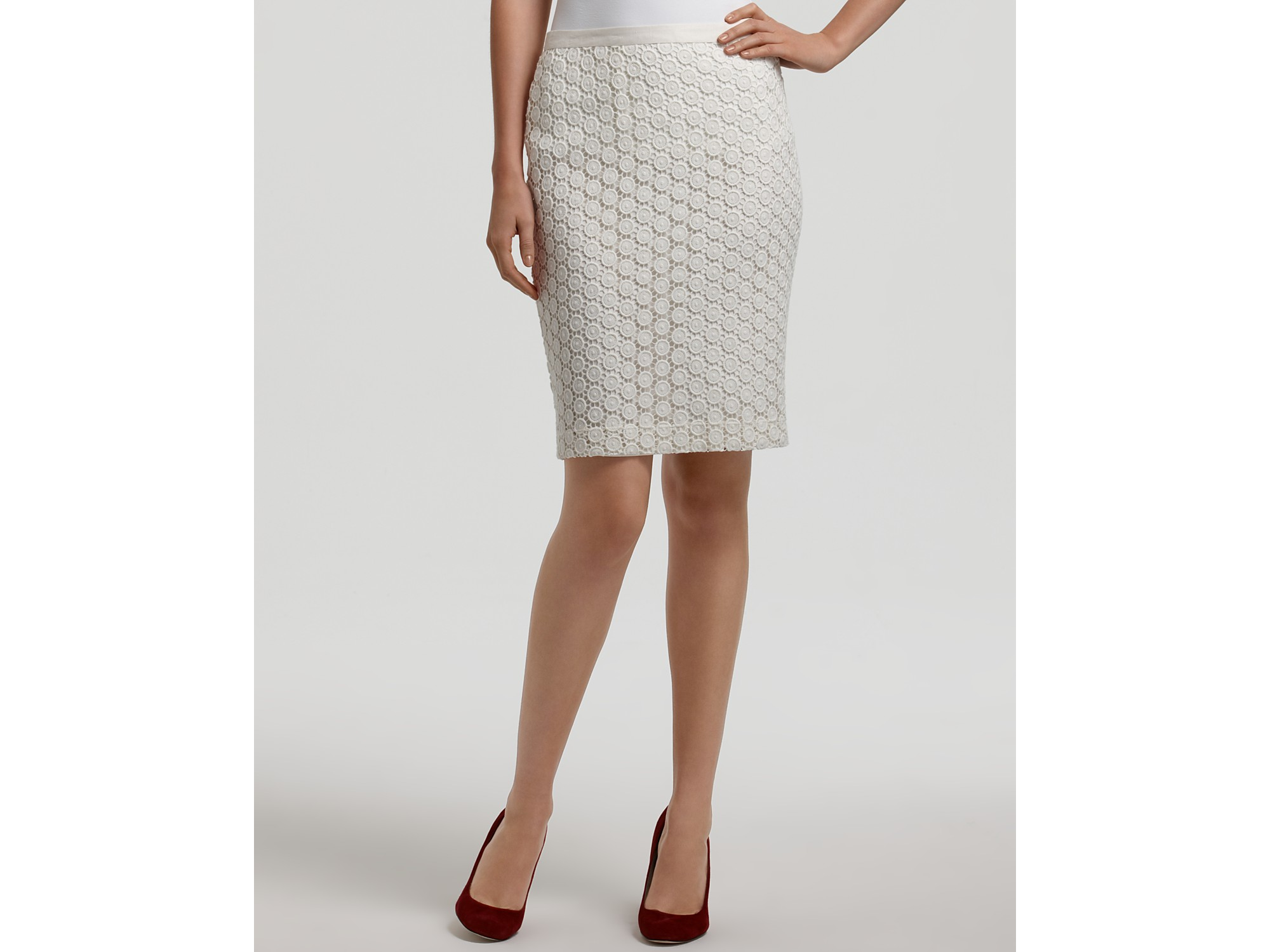 Karen kane Lace Pencil Skirt in White | Lyst