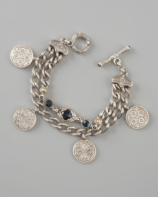 Blue Charm Bracelet: Konstantino Coin Charm Bracelet In Blue