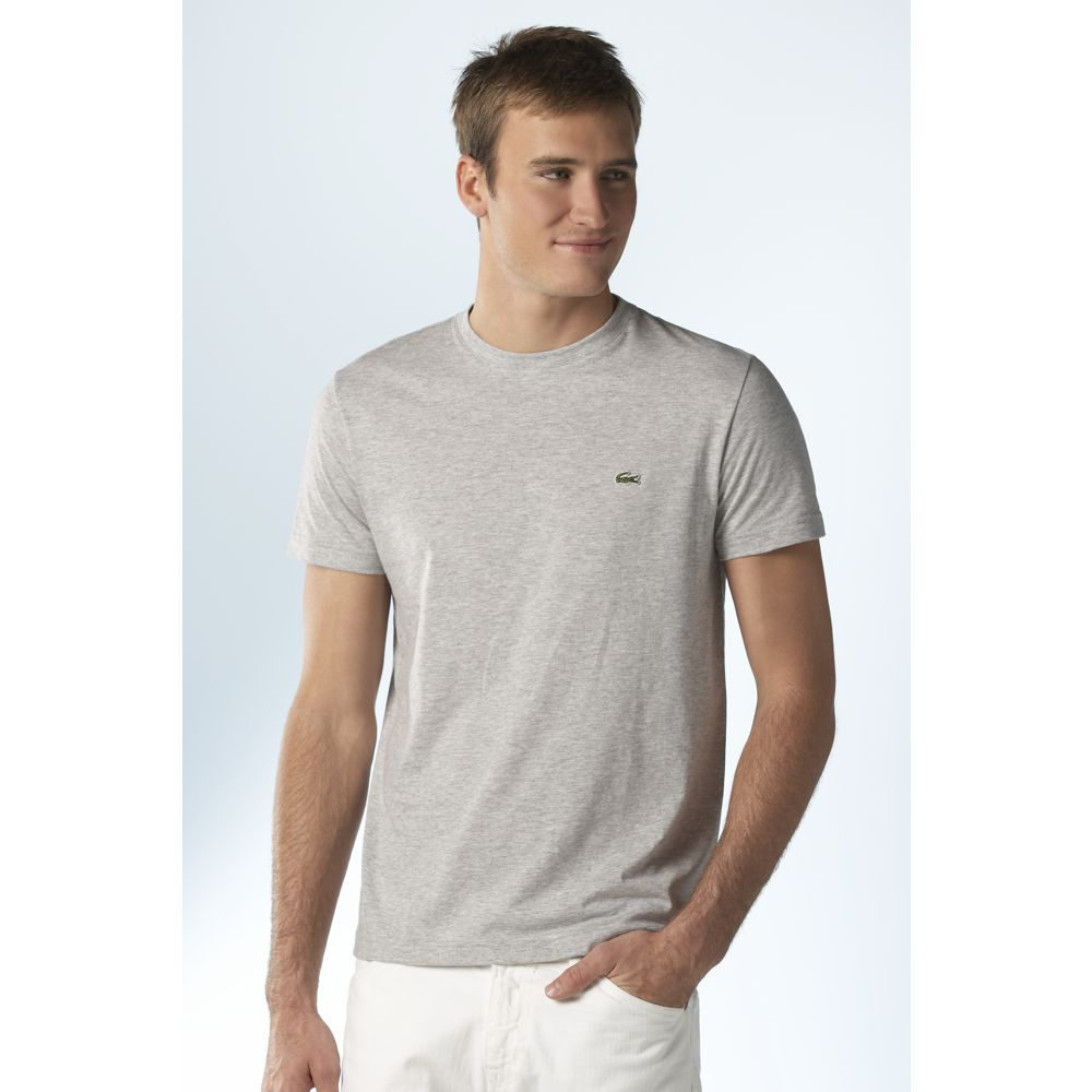 Lacoste Pima Crew Neck Tee Shirts In Gray For Men Grey