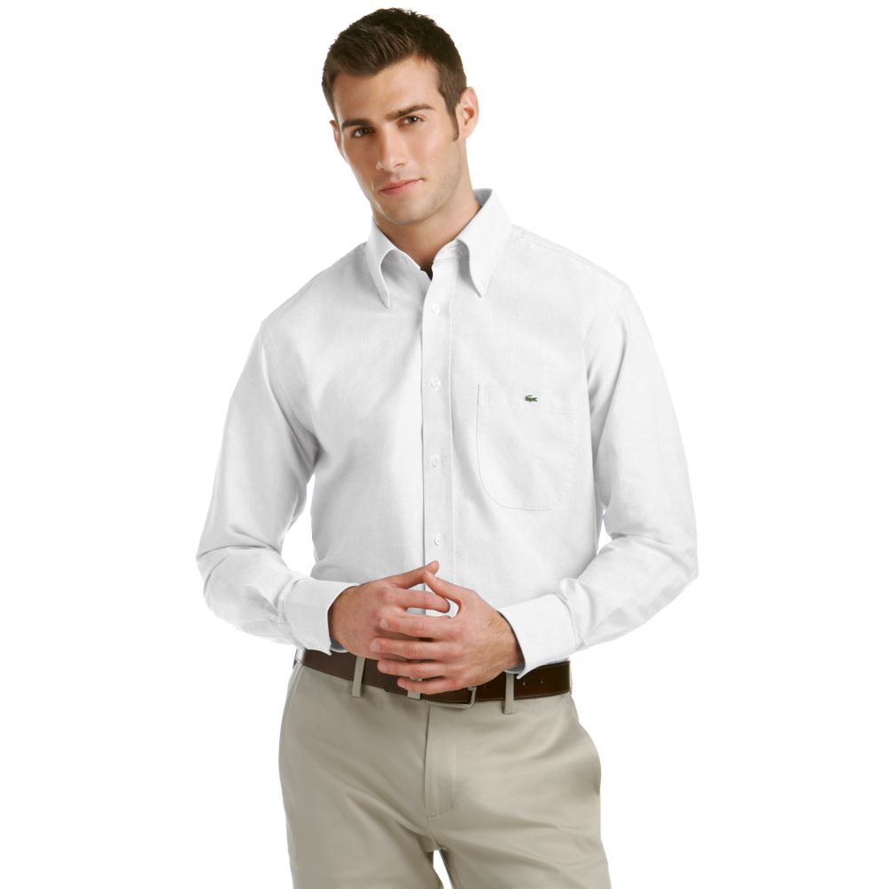 Lacoste oxford button down dress shirt in white for men lyst for Mens white button down dress shirts