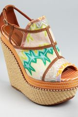 Missoni Wedges Peep Toe Platform in Brown (coral green multi) - Lyst