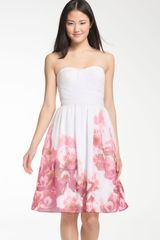 Ml Monique Lhuillier Bridesmaids Banded Sweetheart Chiffon Dress - Lyst