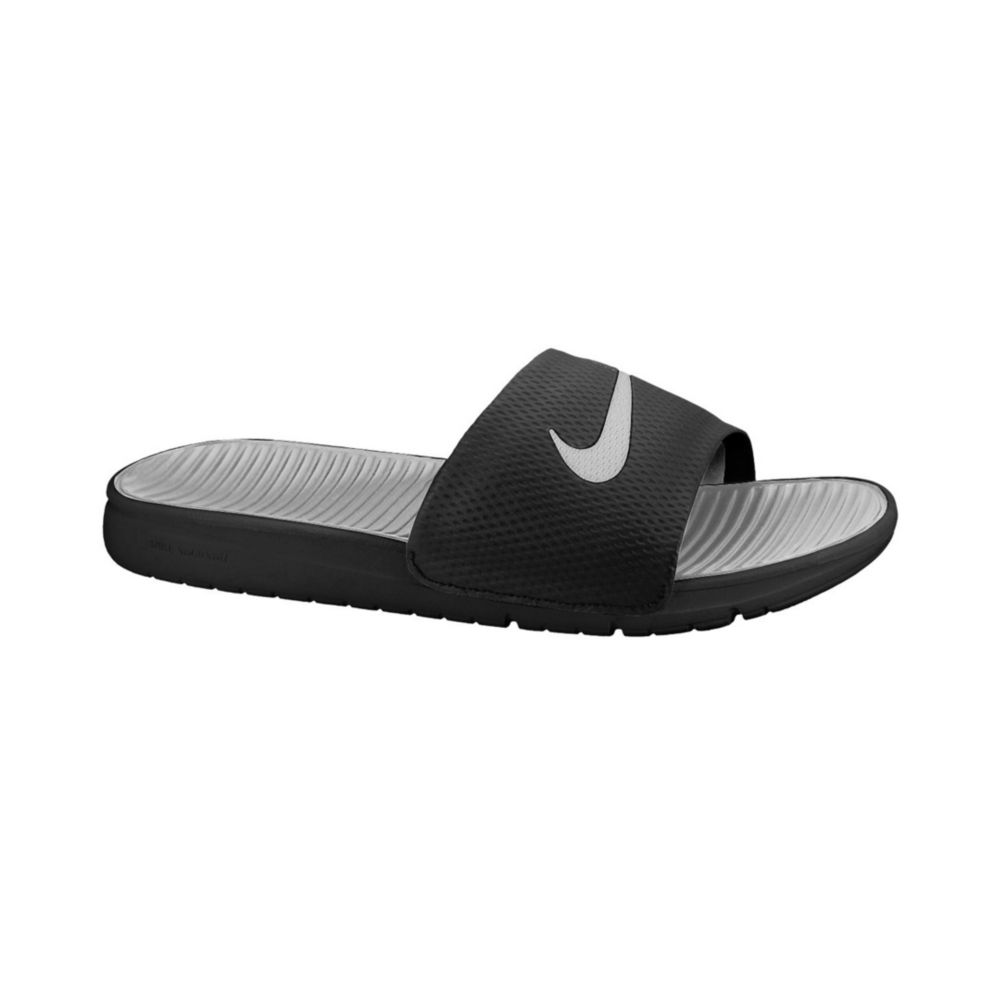 Nike Benassi Solarsoft Slides In Gray For Men Black Wolf