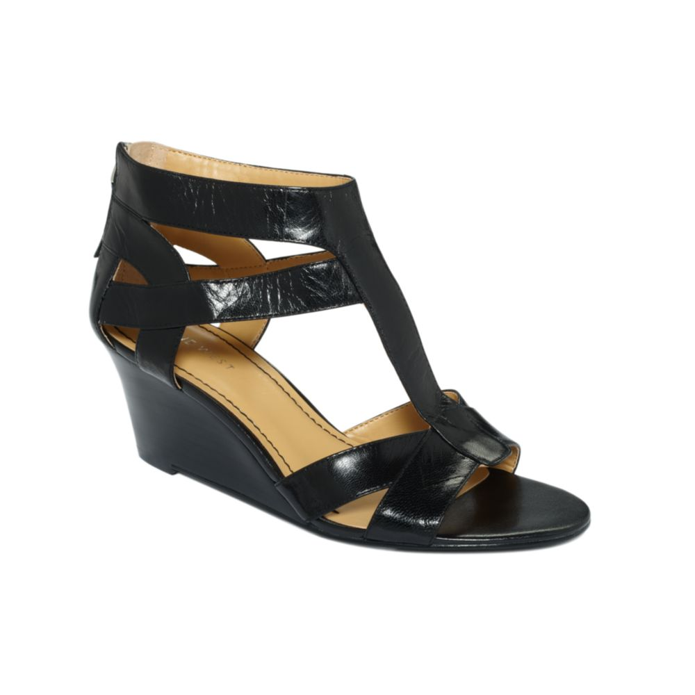 bb1f655598 Nine West Pipin Hot Wedge Sandals in Black - Lyst