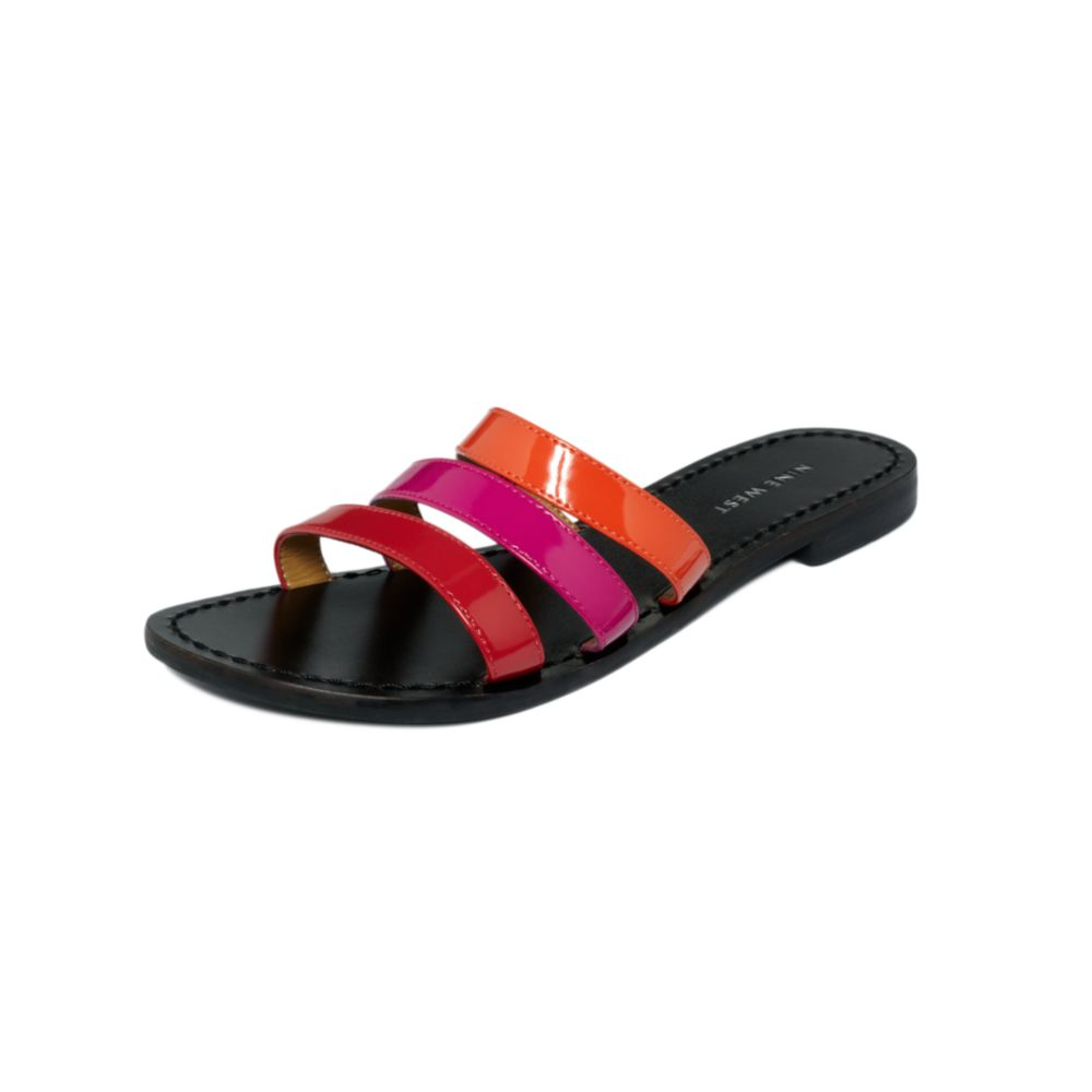 Nine West Fastenup Slide Flat Sandals In Red Red Multi