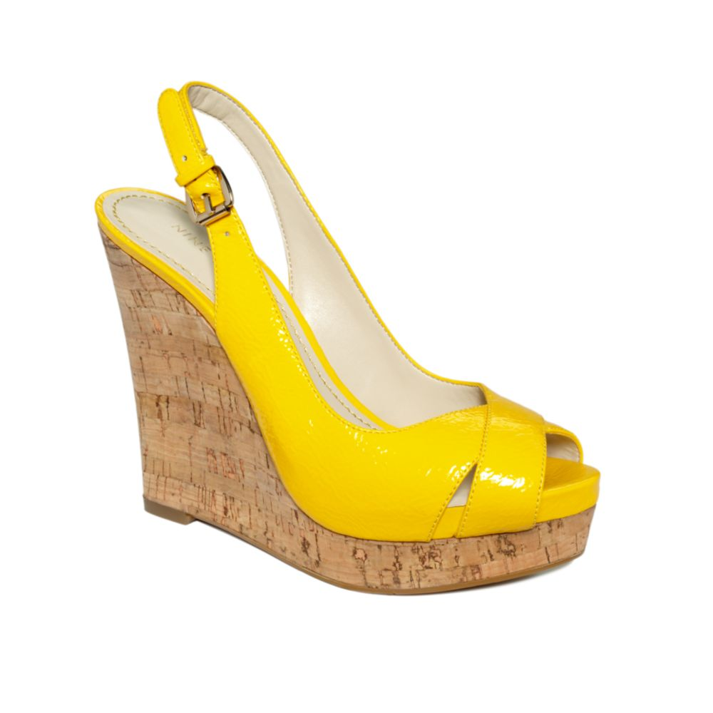 c54bad139026 Lyst - Nine West Laffnplay Wedge Sandals in Yellow