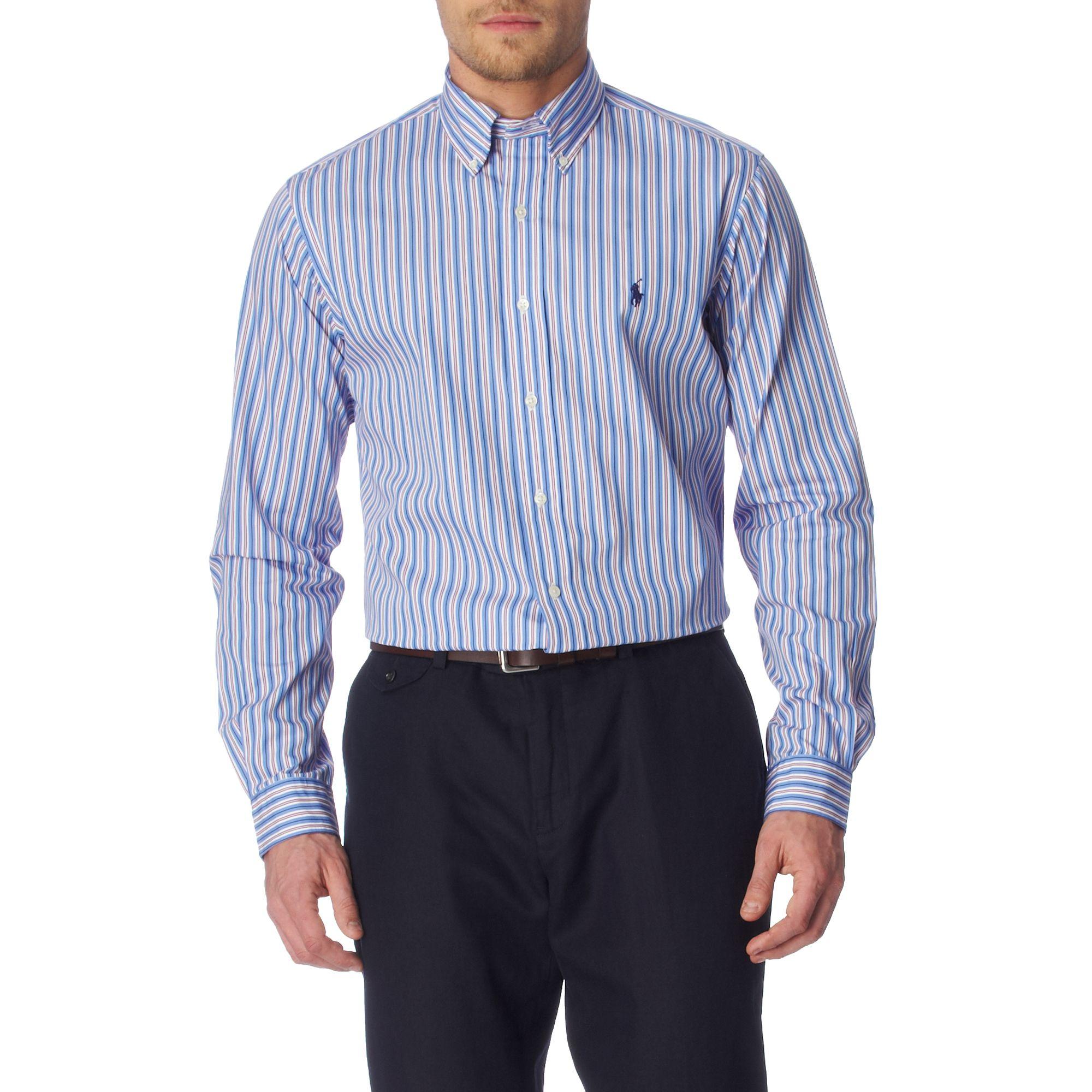 Ralph lauren striped custom fit single cuff shirt in blue for Single cuff dress shirt
