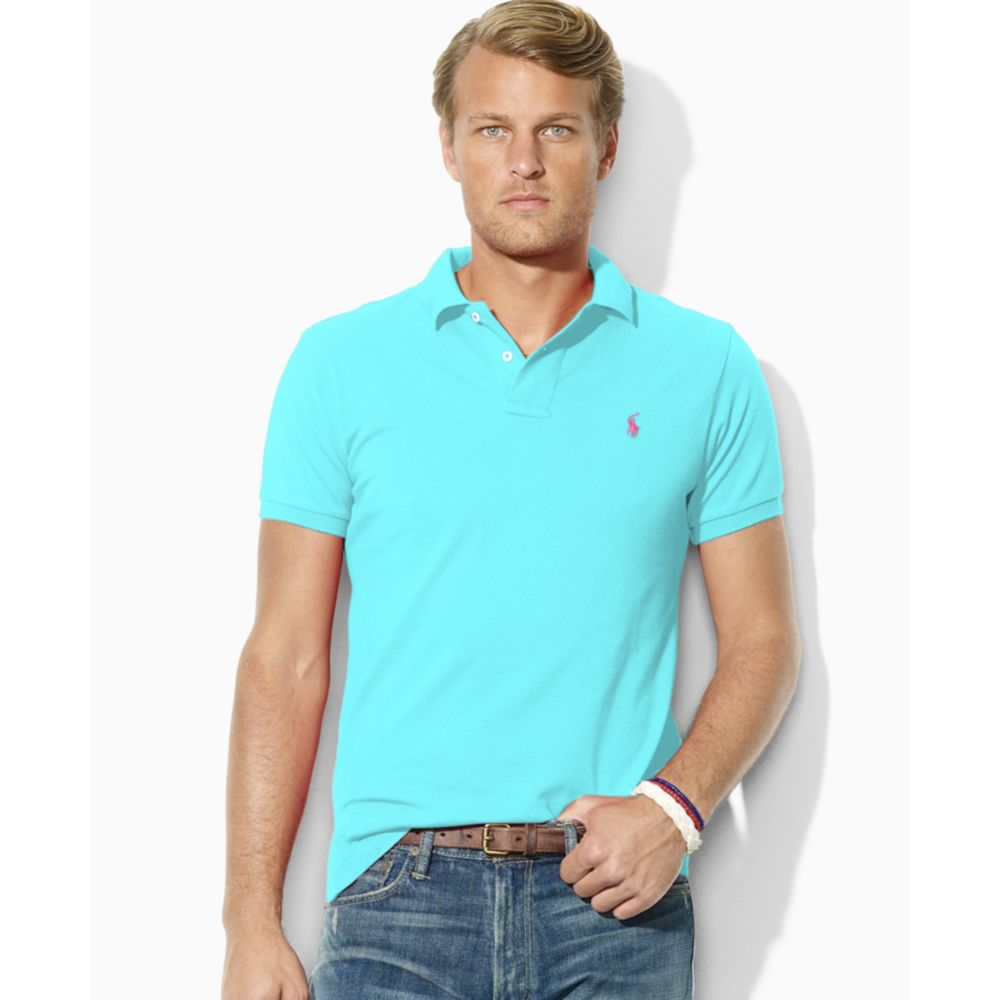 Ralph lauren slim custom fit mesh polo shirt in blue for for Ralph lauren custom fit mesh polo shirt