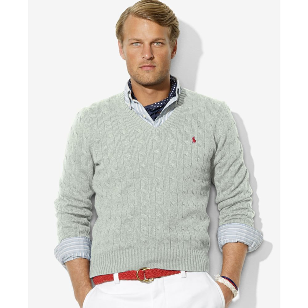 Lyst Ralph Lauren Cable Knit Silk V Neck Sweater In Gray For Men