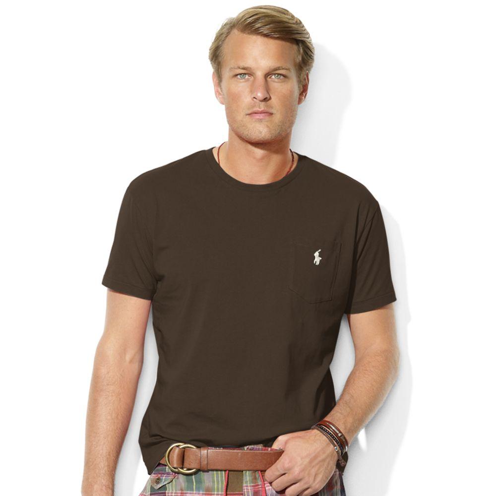 ralph lauren cotton crew neck pocket t shirt in brown for. Black Bedroom Furniture Sets. Home Design Ideas