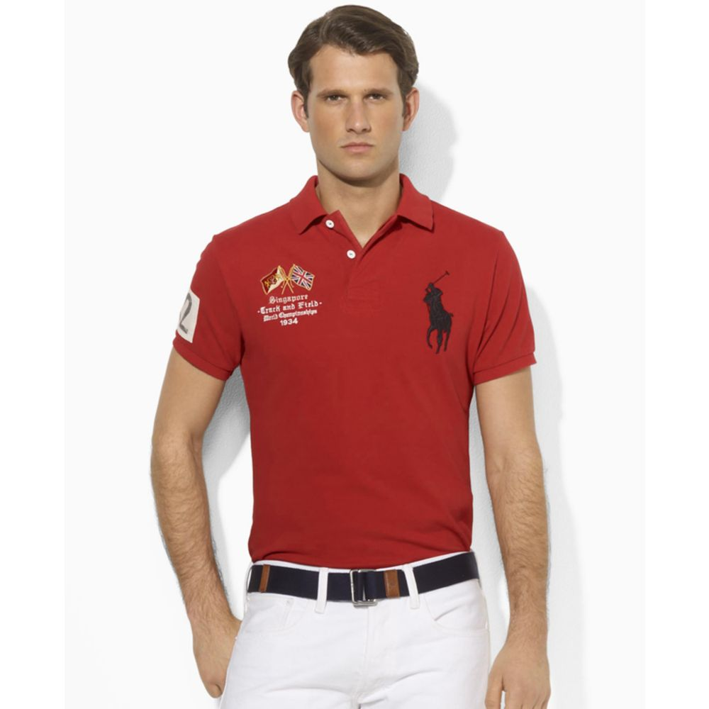 Ralph Lauren Polo Singapore Country Mesh Polo in Red for ...