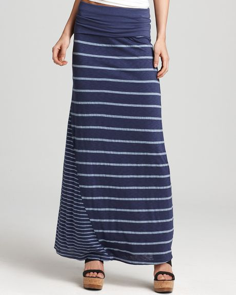 splendid skirt stripe maxi skirt in blue denim lyst