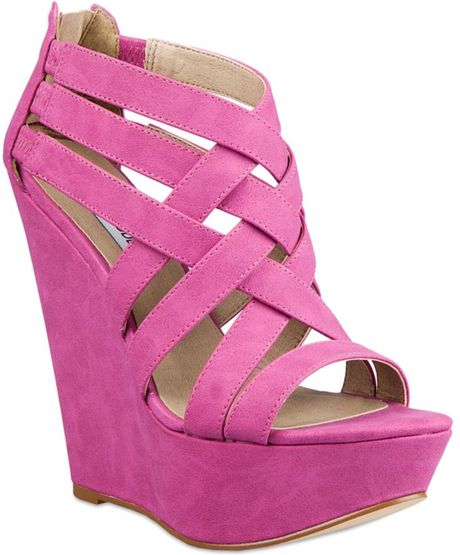 Steve Madden Xcess Platform Wedge Sandals in Purple (fuschia)