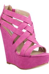 Steve Madden Xcess Platform Wedge Sandals in Purple (fuschia) - Lyst