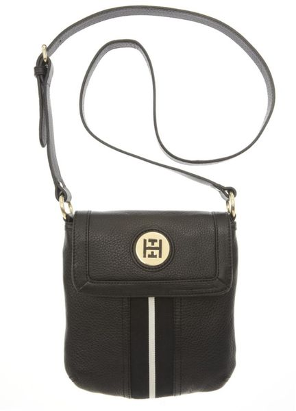 Tommy Hilfiger Pebble Leather Logo Crossbody in Black - Lyst