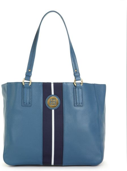 Tommy Hilfiger Pebble Leather Logo Tote in Blue - Lyst