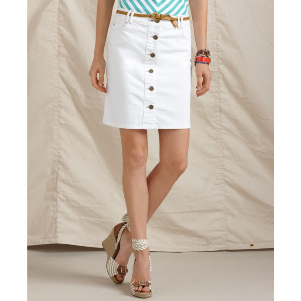 White Button Down Denim Skirt - Dress Ala