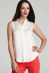 Vince Camuto Sleeveless Button Front Shirt - Lyst