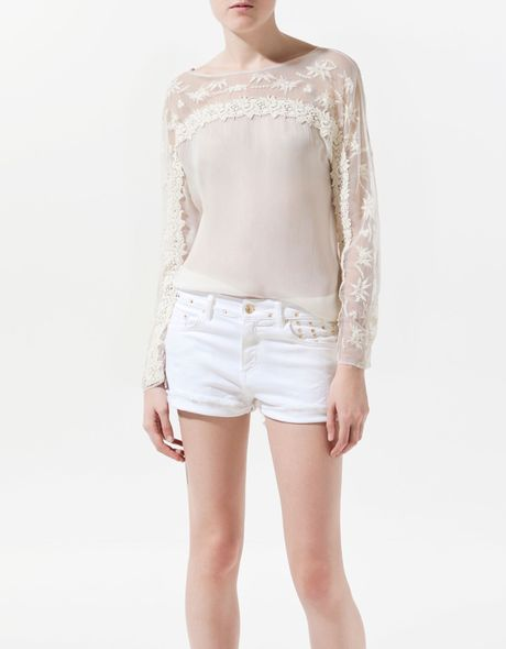 Zara Sheer Embroidered Blouse 59