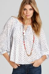 Becca Rebecca Taylor Blouse Bell Flower Patched with Keyhole - Lyst