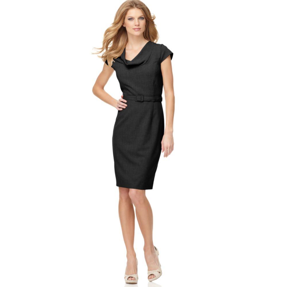Cowl Neckline Wedding Gown Pattern: Calvin Klein Cowl Neckline Belted Work Dress In Black