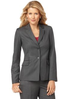 Calvin Klein Long Sleeve Two Button Pinstriped Jacket - Lyst