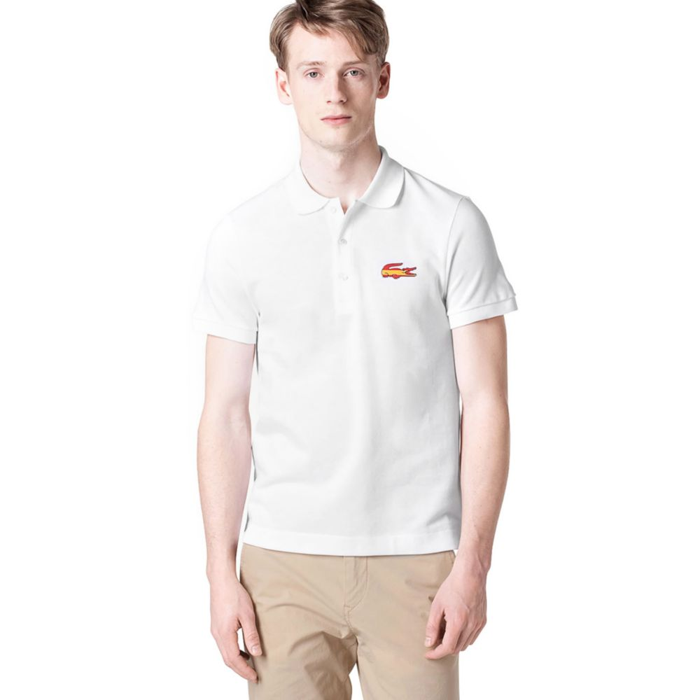 Lacoste spain flag and croc pique polo shirt in white for for Spain polo shirt 2014