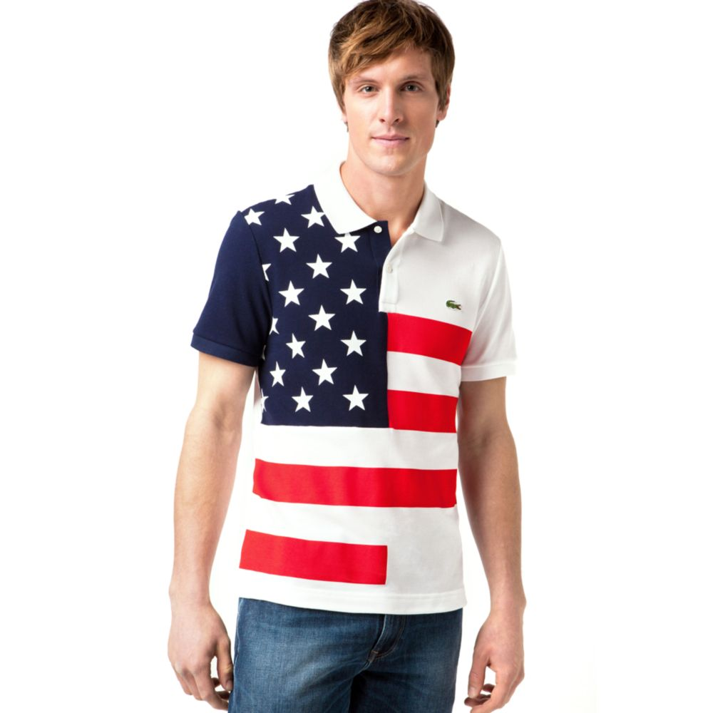 194cf2335c364c Lyst - Lacoste Usa Flag Pique Polo Shirt in Blue for Men