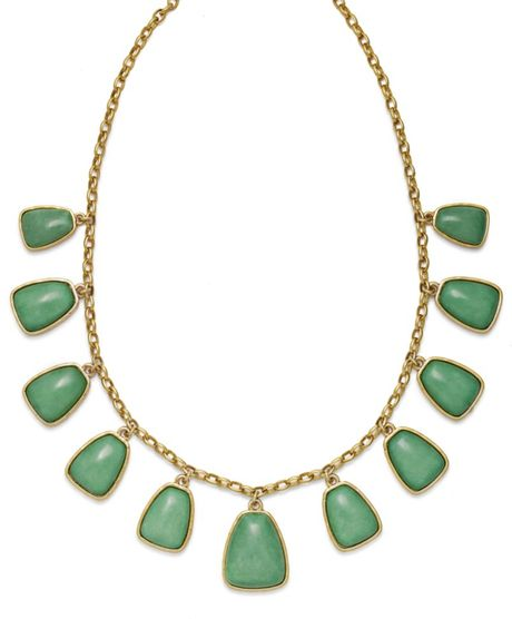 Lauren By Ralph Lauren Reconstituted Jade Frontal Necklace in Green - Lyst
