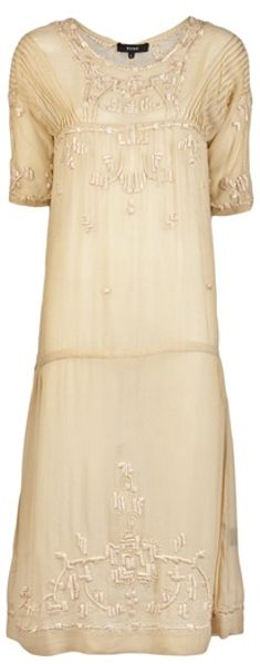 Suno Embroidery Dress in Beige (wheat) - Lyst