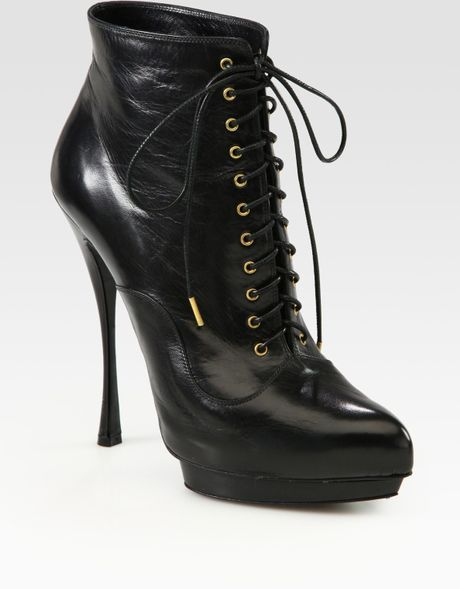 Alexander Mcqueen Leather Laceup Platform Ankle Boots in Black - Lyst