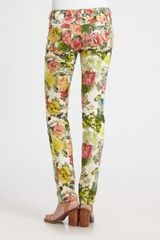 Alice + Olivia 5pocket Printed Skinny Jeans in Multicolor (floral) - Lyst