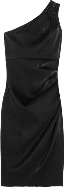 Badgley Mischka Embellished Satin Dress - Lyst