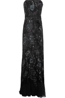 Badgley Mischka Sequined Silk Chiffon Gown - Lyst