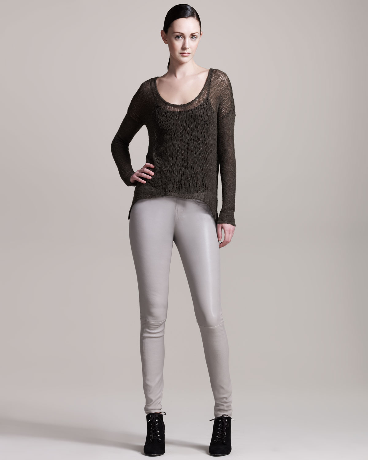 Helmut lang Stretch Plonge Leather Leggings in Gray | Lyst
