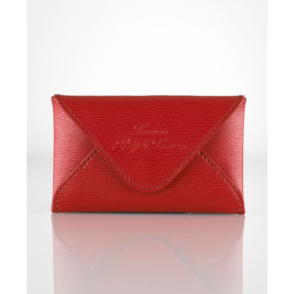 Lyst lauren by ralph lauren newbury envelope card case in red gallery reheart Gallery