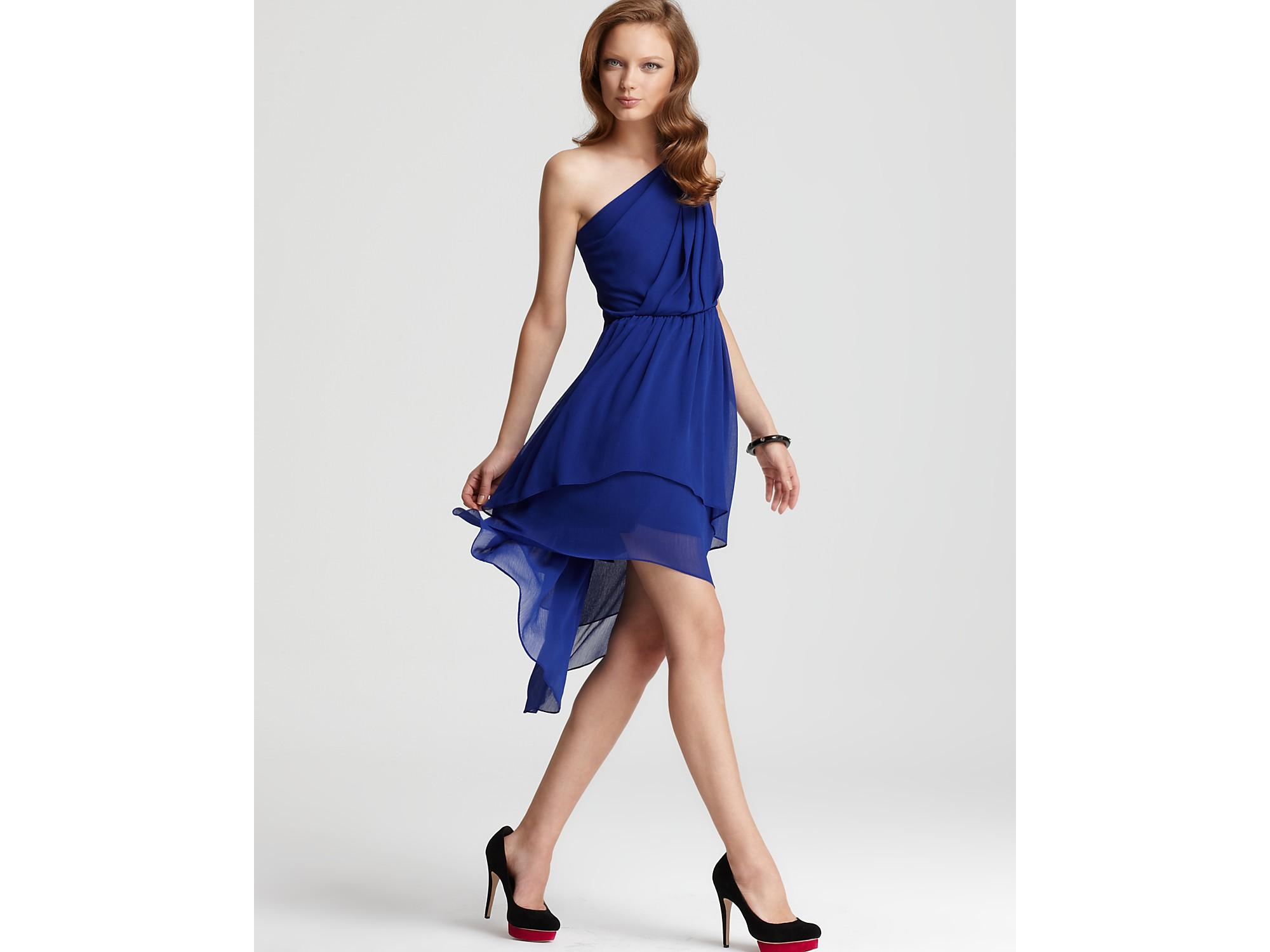 Max & cleo Dress Asymmetrical One Shoulder Dress in Blue | Lyst