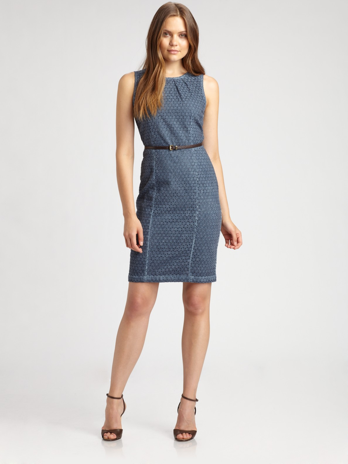 Michael michael kors Eyelet Dress in Blue | Lyst
