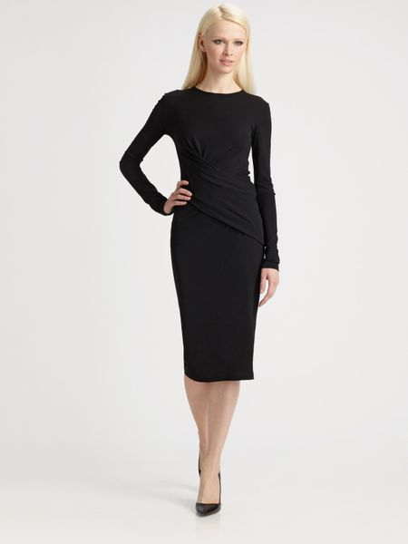 Michael Kors Matte Jersey Wrap Dress in Black - Lyst