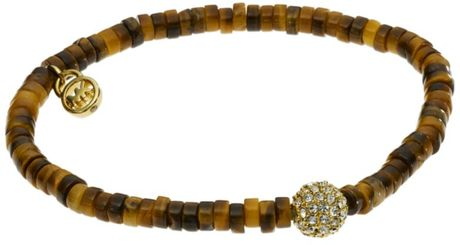 Michael Kors Gold Tone Beaded Stretch Bracelet in Gold - Lyst