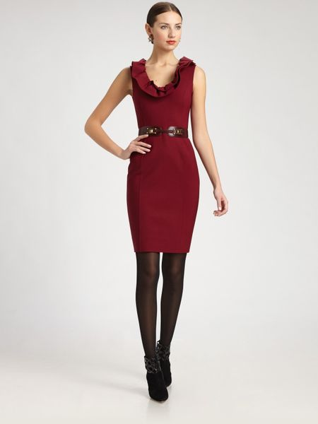 Oscar De La Renta Wool Dress in Red (black) - Lyst