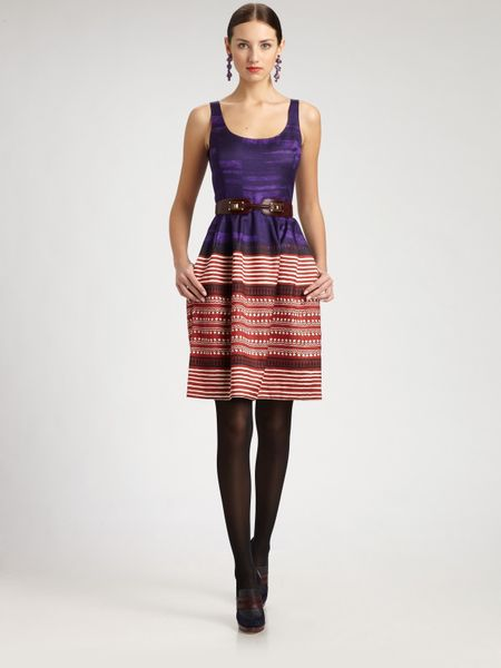 Oscar De La Renta Printed Dress in Purple (multi) - Lyst