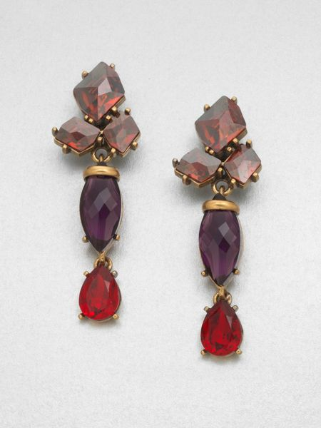 Oscar De La Renta Swarovski Crystal Cluster Drop Clipon Earrings in Multicolor (red) - Lyst