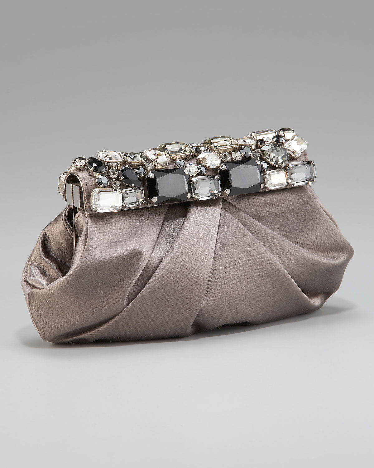 prada handbag - Prada Raso Stones Satin Frame Clutch in Gray (brown taupe) | Lyst